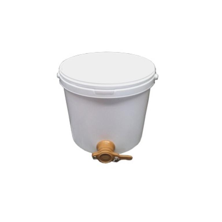 Balde plástico 25kg mel c/tampa e torneira AP003